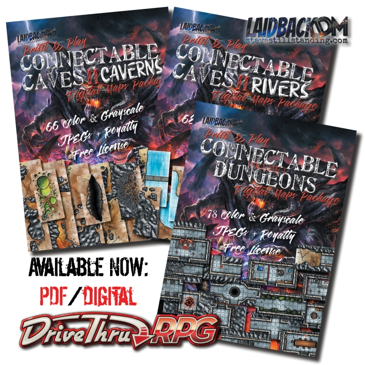 Laidback DM - Connectable Caves & Dungeons - DrivethruRPG Ad